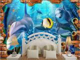 Swimming Pool Wall Murals 3d Space Ocean World In False Brick Wall Mural Wallpaper for Kids Bedroom Living Room Hotel Baby Infant Swimming Pool Wall Decor the Hd Wallpapers the