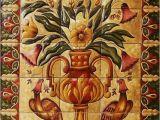 "Talavera Murals Ceramic Tile Hand Painted Mural ""florals"
