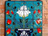Talavera Tile Murals Mexican Talavera Style Floral Hand Glazed Ceramic Tile Mural