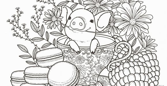 Teacup Coloring Pages to Print Pig In A Tea Cup Adult Coloring Page Coloring