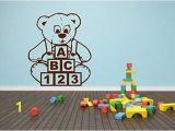 Teddy Bear Wall Mural Amazon Teddy Bear Blocks Abc Wall Sticker Child Decal