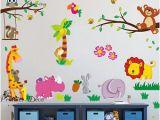 Teddy Bear Wall Mural Cute Woodland Animal theme Owl Squirrel Fox Bird Flower Tree