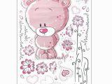 Teddy Bear Wall Mural Pink Removable Bear Vinyl Decor Art Mural Wall Stickers Decal Kids Baby Nursery