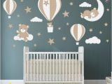 Teddy Bear Wall Murals Teddy Bear Decal Hot Air Balloon Wall Stickers Stars
