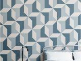 Teen Boy Wall Mural Blue Geometric Wallpaper Abstract Design