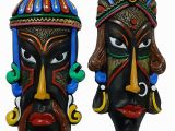 Terracotta Wall Murals Online Buy Sulfax Idol Terracotta Multicolored Tribal Mask Wall