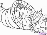 Thanksgiving Basket Coloring Pages Cornucopia