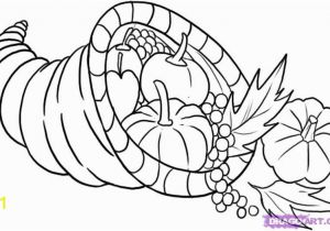 Thanksgiving Basket Coloring Pages Cornucopia