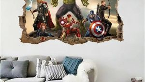 The Avengers Wall Mural Cartoon Avengers Wall Sticker 3d Decals Wallpaper Mural Art