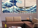 The Great Wave Off Kanagawa Wall Mural Seascape Posters Landscape Canvas Painting 3 Panels