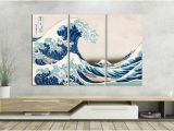 The Great Wave Off Kanagawa Wall Mural the Great Wave Off Kanagawa Leather Print Reproduction Multi Panel Artwork Galleryfine Leather Art Wall Art Wall Decor Better Than Canvas
