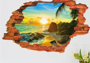The Wall that Cracked Open Mural 3d Broken Wall Decal Sunset Scenery Seascape island Coconut Trees