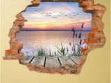 The Wall that Cracked Open Mural 3d Vinyl Water Motif Wall Sticker
