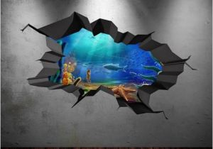 The Wall that Cracked Open Mural Fish Aquarium Sea Wall Decal Cracked Hole Full Colour Wall Art
