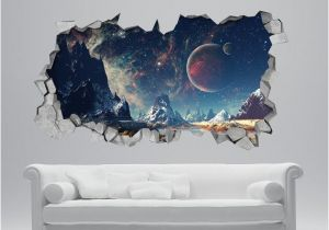 The Wall that Cracked Open Mural Space Broken Wall Decal 3d Wallpaper 3d Wall Decals 3d Printed