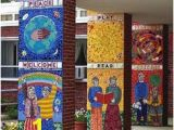 The Wall that Cracked Open Mural Wel E Mosaic at the Entrance Of A School