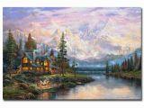 Thomas Kinkade Wall Murals Cathedral Mountain Lodge Thomas Kinkade Canvas Painting Print for
