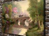 Thomas Kinkade Wall Murals Thomas Kinkade Hometown Bridge Scenery Canvas Prints Wall Art Oil
