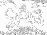 "Tiger Outline Coloring Page Fantastic Jungles Of Henri Rousseau"" Coloring Page Free"