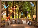 Tiger Woods Wall Mural Custom 3d Wallpaper Woods Small Road butterflies forest Nature