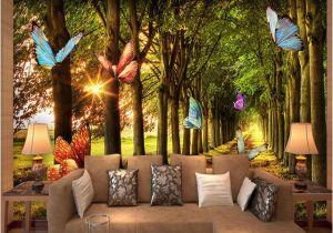 Tiger Woods Wall Mural Custom 3d Wallpaper Woods Small Road butterflies forest Nature
