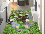 Tile Murals for Kitchens Wallpaper 3d Lotus Pond Floor Tiles Murals Living Room