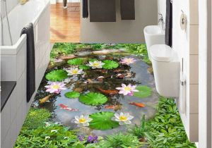 Tile Murals for Kitchens Wallpaper 3d Lotus Pond Floor Tiles Murals Living Room