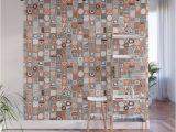 Tile Wall Art Mural Frisson Memphis Bw orange Wall Mural by Sharonturner