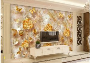 Tile Wall Murals for Sale European Style Retro Gold Luxurious Rose Pattern butterfly Tv Wall