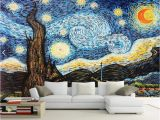 Tips for Painting A Wall Mural Custom 3d Wallpaper Van Gogh Starry Sky Oil Painting Mural Wallpaper for Living Room European Wall Mural Home Decor Papel De Parede Hd