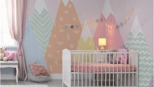 Toddler Girl Wall Murals Hand Painted Geometric Nursery Children Wallpaper Pink
