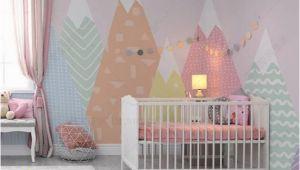 Toddler Girl Wall Murals Hand Painted Geometric Nursery Children Wallpaper Pink