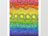 Tonal Circles Wall Mural Rainbow Doodle Art Print