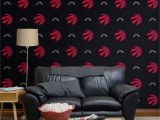Touch Of Modern Wall Mural toronto Raptors Logo Pattern Black Ficially Licensed Removable Wallpaper