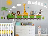 Train Wall Mural Stickers Personalized Jungle Safari Animals Train Wall Decal Set Monkey Zebra