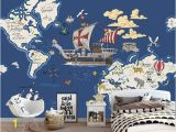 Treasure Map Wall Mural World Animal Treasure Map Nautical Wind Children S Room Background Wall Custom Mural Green Wallpaper Any Size Wallpapers High Resolution