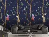 Tree for Wall Mural 3d Cartoons Tree Parrot Wallpaper Removable Self Adhesive