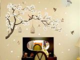 Tree Mural Wall Art Chinese Style Plum Tree Plants Flower Bird Cage Bedroom Background Decorative Stickers Home Wall Stickers Decal Art Mural Wall Decals Home Wall Decals