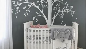 Tree Murals for Baby Nursery Baby Bedroom Home Art Decor Cute Huge Tree with Falling Leaves and