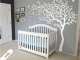 Tree Murals for Nursery Big White Tree Wall Decal Nursery Wall Sticker Tree and Birds Art