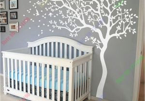 Tree Murals for Nursery Huge White Tree Wall Decal Nursery Tree and Birds Wall Art Baby Kids