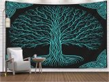 Tree Silhouette Wall Murals Grootey Tree Wall Tapestry Tapestry 60x60inches Tree Night Round Silhouette Black Blue Logo Ancient Book Style Yggdrasil at Gothic Tapestries Wall Art