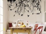 Tree Silhouette Wall Murals Tree Branch with Birds and Dragonfly Vinyl