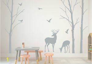 Tree Wall Mural for Nursery Deer Wall Decals Tree Nursery Wall Art Woodland Nursery Removable