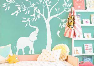 Tree Wall Mural for Nursery Elegant White Tree Wall Decal White Elephant Elephant Birds Tree