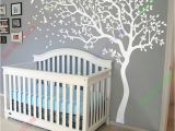 Tree Wall Mural for Nursery Huge White Tree Wall Decal Nursery Tree and Birds Wall Art Baby Kids