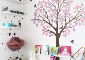 Tree Wall Mural for Nursery Nursery Tree Wall Sticker with Birds Wall Art Decoration for Kids