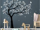 Tree Wall Mural for Nursery Tree Wall Decal Tree Decals Huge Tree Decal Nursery with Birds