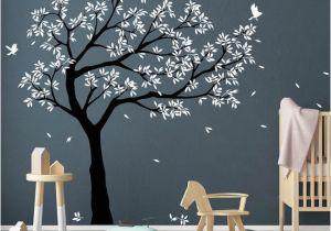 Tree Wall Mural for Nursery Tree Wall Decal Tree Decals Huge Tree Decal Nursery with Birds