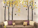 Tree Wall Mural Nursery Fymural 5 Trees Wall Decal forest Mural Paper for Bedroom Kid Baby Nursery Vinyl Removable Diy Sticker 103 9×70 9 orange Brown
